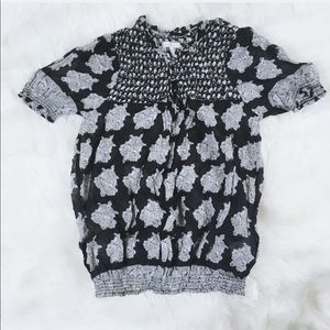 Joie Cotton Black and White Blouse